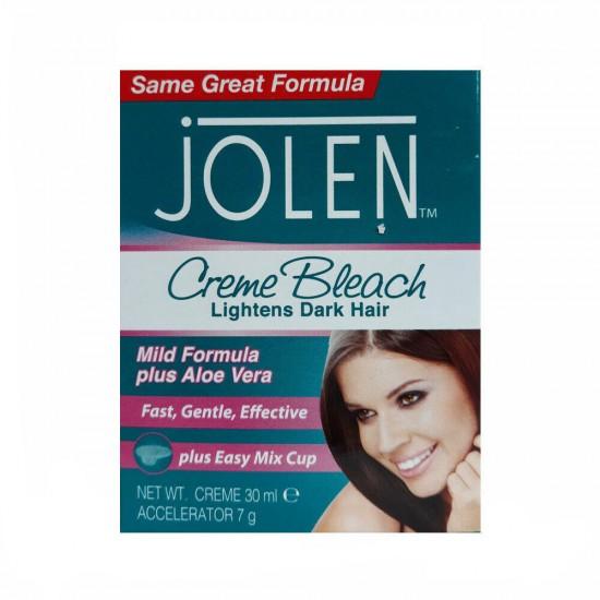 Jolen Creme Bleach Mild Formula + Aloe Vera - Lightens Dark Hair - 30ml